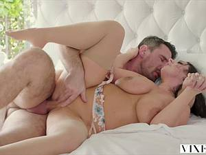 Busty Angela White begs her lover for a cock