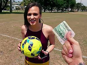Amateur pickup porn. Young Soccer player is ready to make money