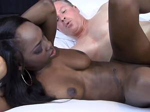 Ebony slut gets old man cock